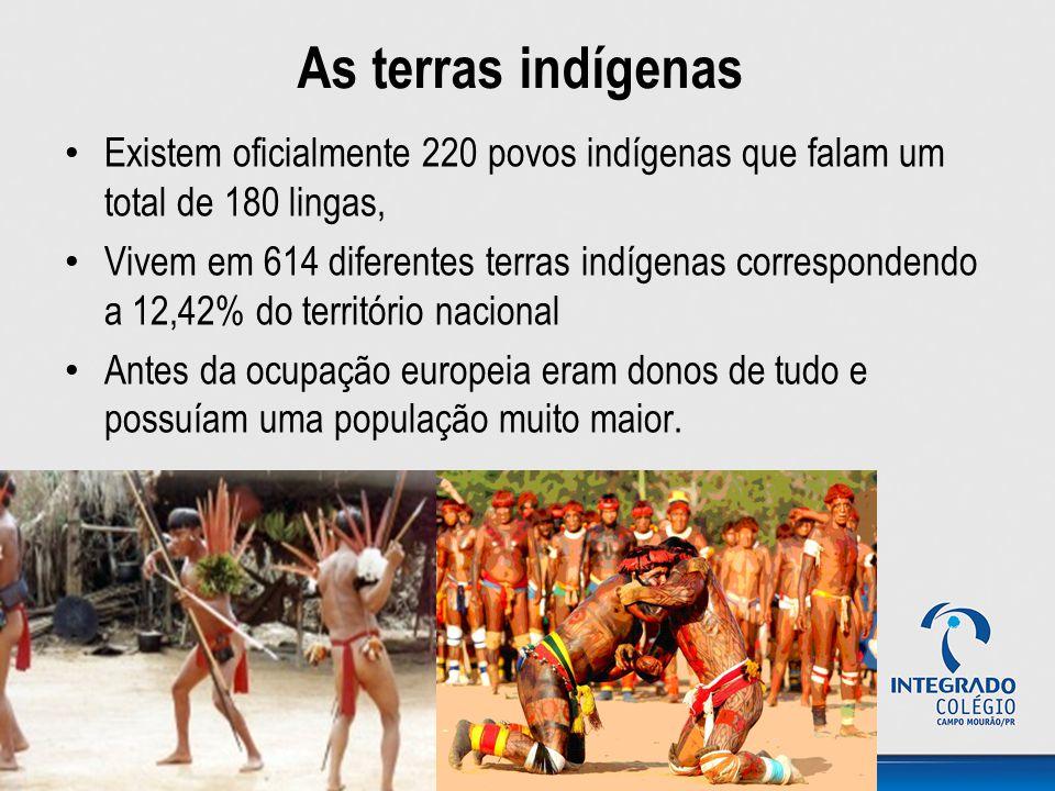 As terras indígenas Existem oficialmente 220 povos indígenas que falam um total de 180 lingas, Vivem em 614 diferentes terras indígenas correspondendo a 12,42% do território nacional Antes da ocupação europeia eram donos de tudo e possuíam uma população muito maior.