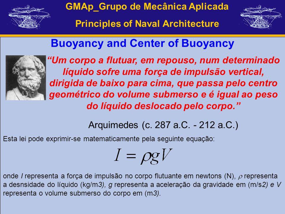 GMAp_Grupo de Mecânica Aplicada Principles of Naval Architecture Buoyancy and Center of Buoyancy Um corpo a flutuar, em repouso, num determinado líqui