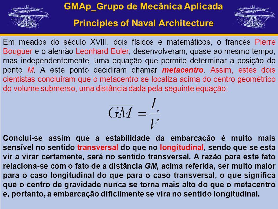 GMAp_Grupo de Mecânica Aplicada Principles of Naval Architecture Em meados do século XVIII, dois físicos e matemáticos, o francês Pierre Bouguer e o a