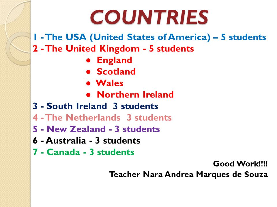 COUNTRIES 1 - The USA (United States of America) – 5 students 2 - The United Kingdom - 5 students England Scotland Wales Northern Ireland 3 - South Ir