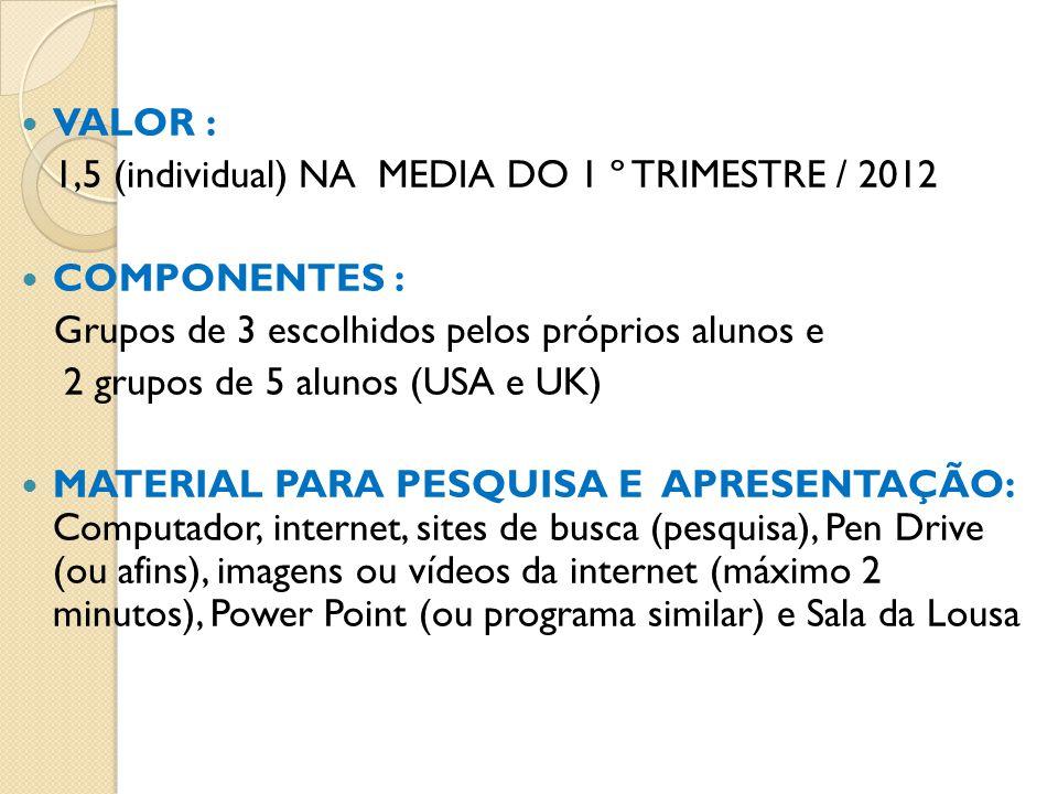 VALOR : 1,5 (individual) NA MEDIA DO 1 º TRIMESTRE / 2012 COMPONENTES : Grupos de 3 escolhidos pelos próprios alunos e 2 grupos de 5 alunos (USA e UK)