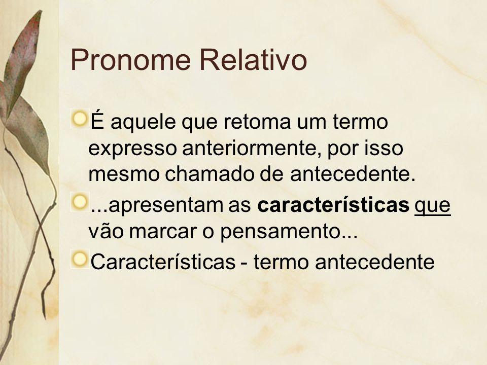 Pronome Relativo É aquele que retoma um termo expresso anteriormente, por isso mesmo chamado de antecedente....apresentam as características que vão m