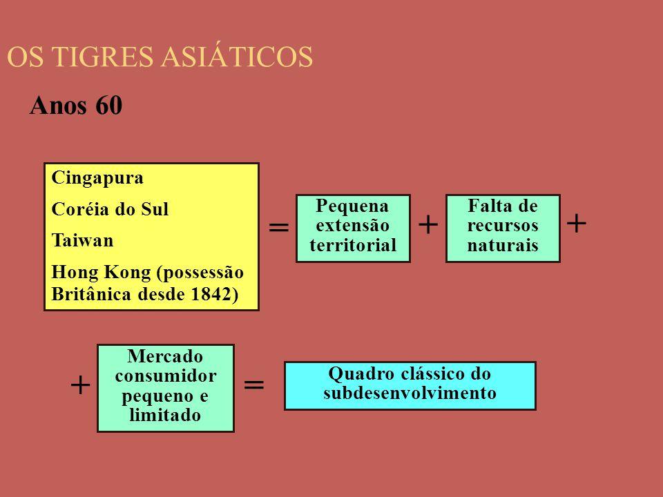 OS TIGRES ASIÁTICOS Cingapura Coréia do Sul Taiwan Hong Kong (possessão Britânica desde 1842) Pequena extensão territorial Anos 60 = Falta de recursos