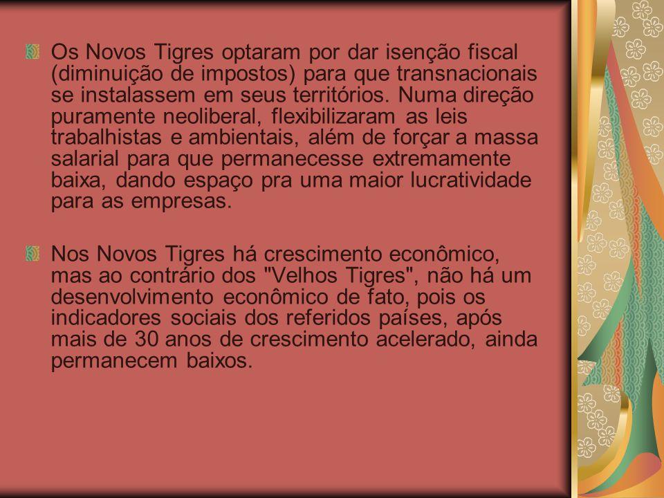 Os Novos Tigres optaram por dar isenção fiscal (diminuição de impostos) para que transnacionais se instalassem em seus territórios. Numa direção puram