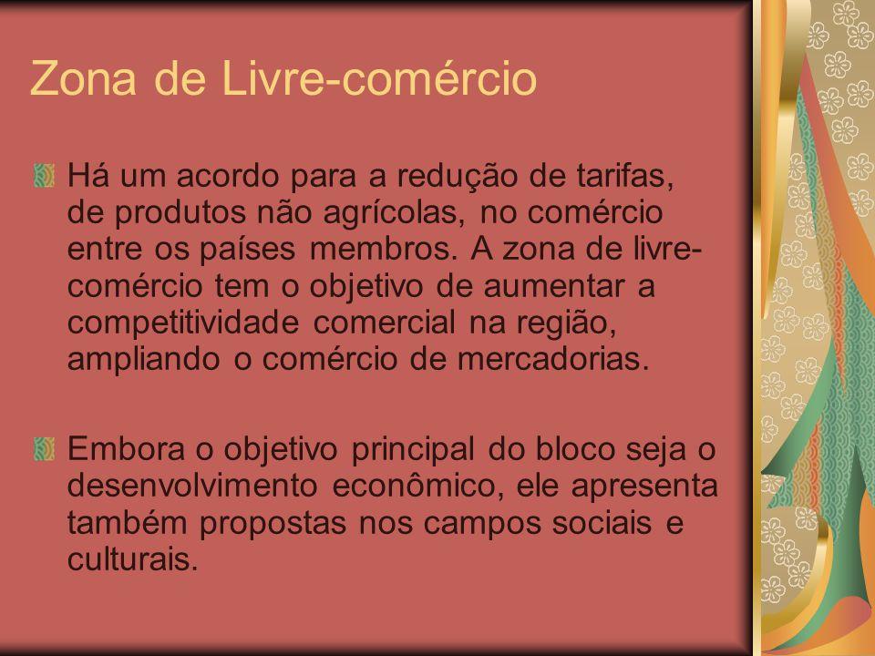 Zona de Livre-comércio Há um acordo para a redução de tarifas, de produtos não agrícolas, no comércio entre os países membros. A zona de livre- comérc
