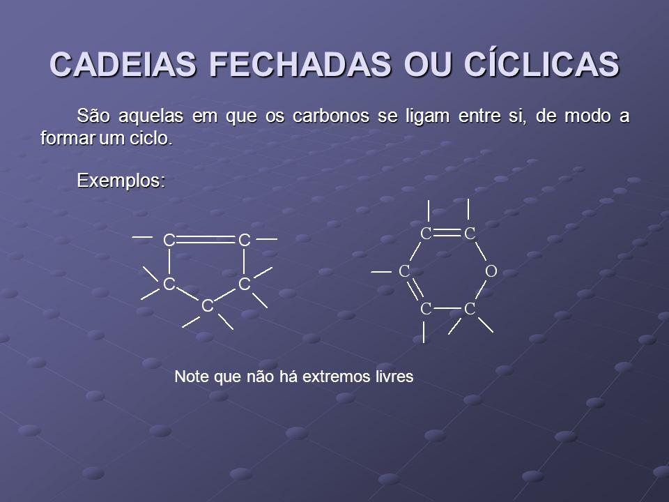 CADEIAS FECHADAS OU CÍCLICAS São aquelas em que os carbonos se ligam entre si, de modo a formar um ciclo.