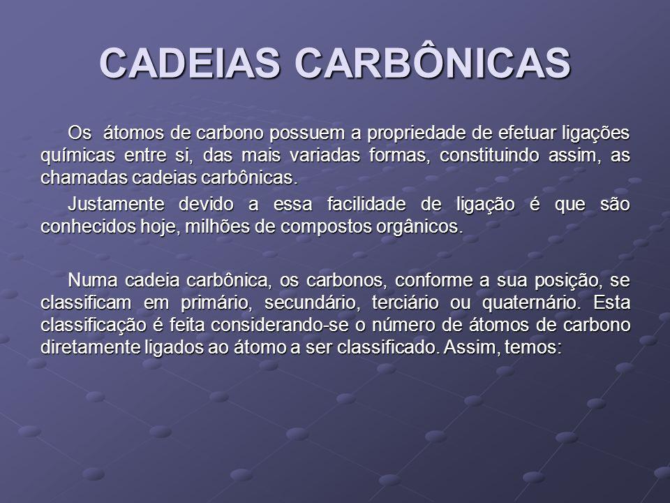 CARBONO PRIMÁRIO Quando está ligado a no máximo um outro átomo de carbono.