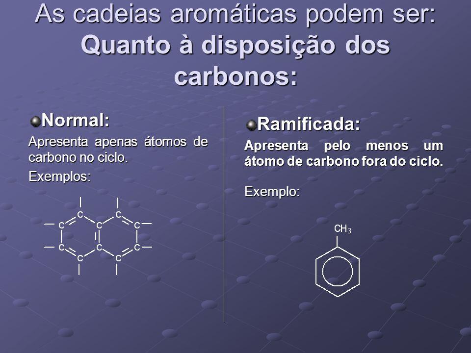 As cadeias aromáticas podem ser: Quanto à disposição dos carbonos: Normal: Apresenta apenas átomos de carbono no ciclo.