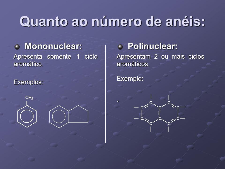 Quanto ao número de anéis: Mononuclear: Mononuclear: Apresenta somente 1 ciclo aromático.