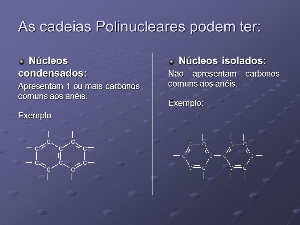 As cadeias Polinucleares podem ter: Núcleos condensados: Núcleos condensados: Apresentam 1 ou mais carbonos comuns aos anéis.