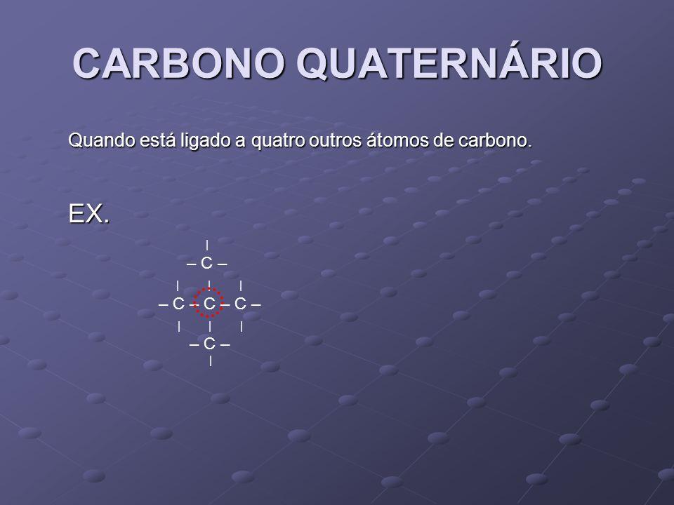 OBS.: Os átomos de hidrogênio podem ser classificados como hidrogênio primário; secundário ou terciário, conforme esteja ligado, respectivamente a um carbono primário, secundário ou terciário, não existe hidrogênio quaternário.