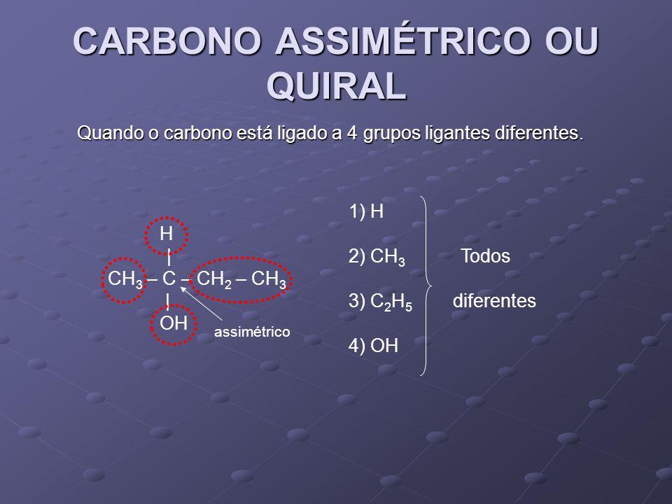 CARBONO ASSIMÉTRICO OU QUIRAL Quando o carbono está ligado a 4 grupos ligantes diferentes.