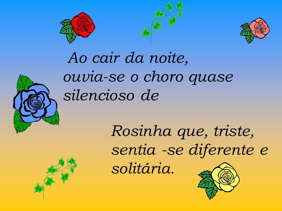 rosas amarelas, vermelhas, brancas e rosadas, mas não havia nenhuma azul. ? ? ? Ao olhar para o lado, ela percebeu que havia lindas rosas coloridas, E