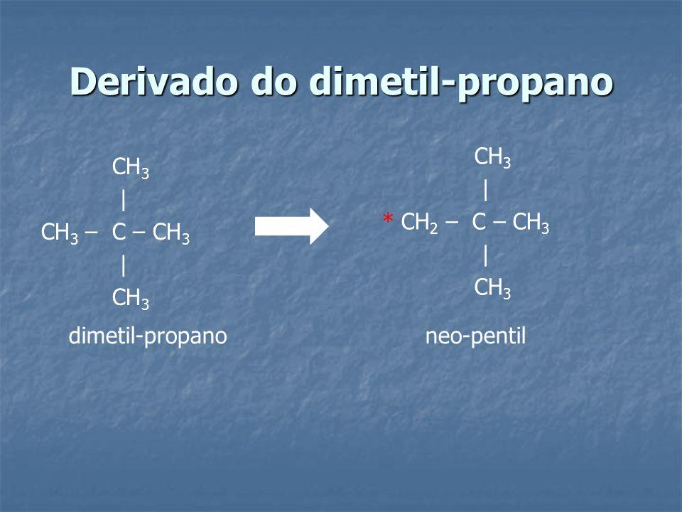 Derivado do dimetil-propano CH 3 | CH 3 – C – CH 3 | CH 3 | * CH 2 – C – CH 3 | CH 3 dimetil-propano neo-pentil