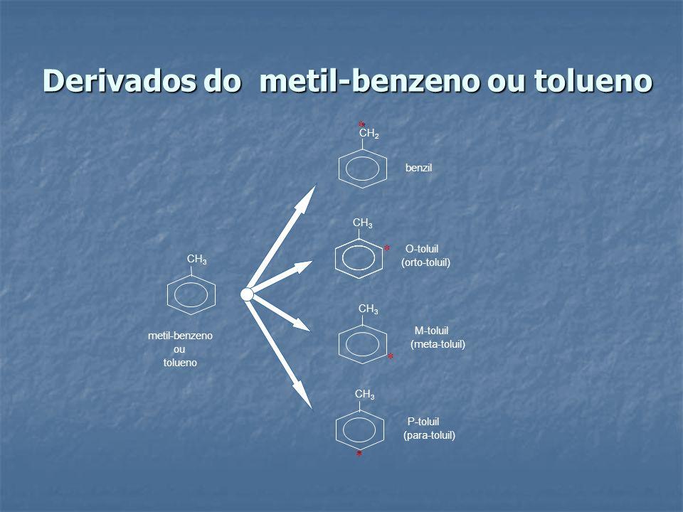 Derivados do metil-benzeno ou tolueno * metil-benzeno CH 3 CH 2 ou tolueno CH 3 benzil O-toluil (orto-toluil) * (meta-toluil) M-toluil P-toluil (para-