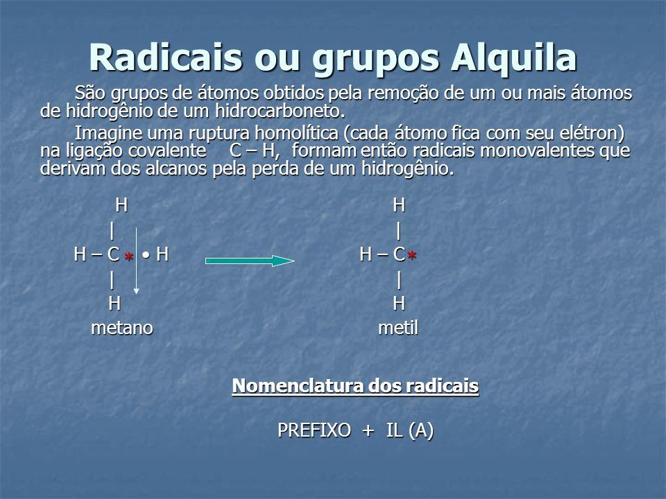 Radicais ou grupos Alquila São grupos de átomos obtidos pela remoção de um ou mais átomos de hidrogênio de um hidrocarboneto. Imagine uma ruptura homo