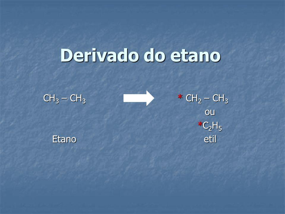 Derivado do etano CH 3 – CH 3 * CH 2 – CH 3 ou ou *C 2 H 5 *C 2 H 5 Etano etil Etano etil
