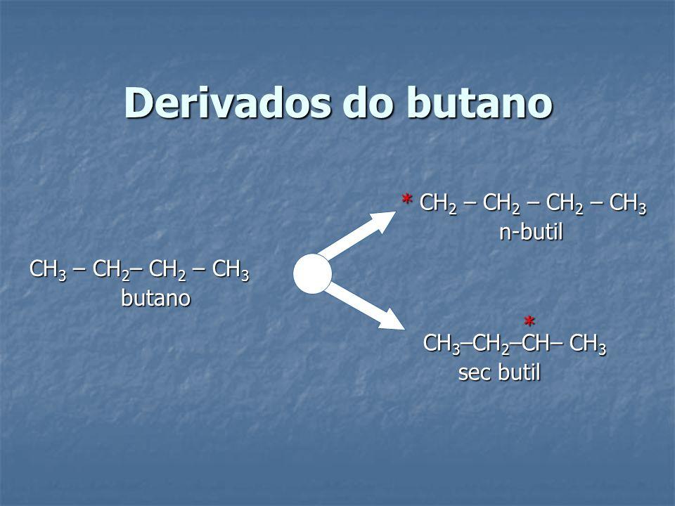 Derivados do butano * CH 2 – CH 2 – CH 2 – CH 3 n-butil n-butil CH 3 –CH 2 –CH– CH 3 sec butil sec butil CH 3 – CH 2 – CH 2 – CH 3 butano butano *