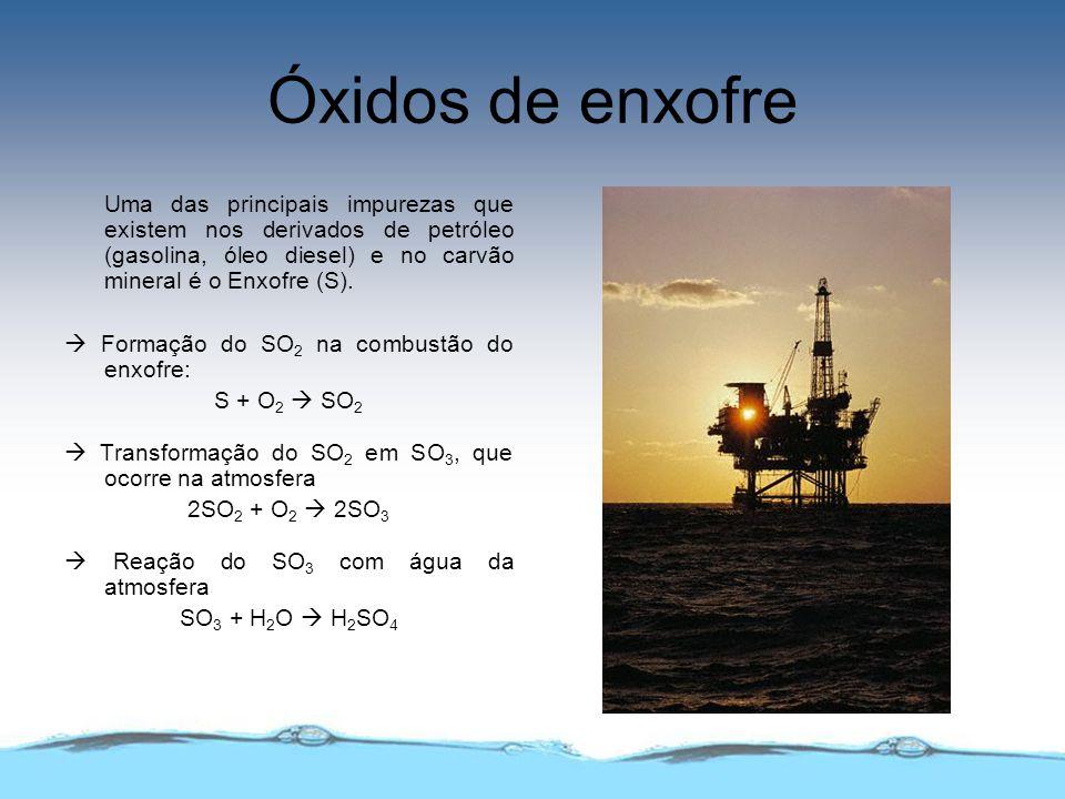 Óxidos de enxofre Uma das principais impurezas que existem nos derivados de petróleo (gasolina, óleo diesel) e no carvão mineral é o Enxofre (S). Form