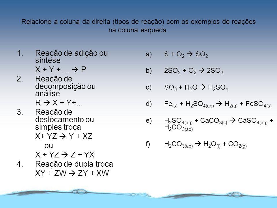Relacione a coluna da direita (tipos de reação) com os exemplos de reações na coluna esqueda. 1. Reação de adição ou síntese X + Y +... P 2. Reação de