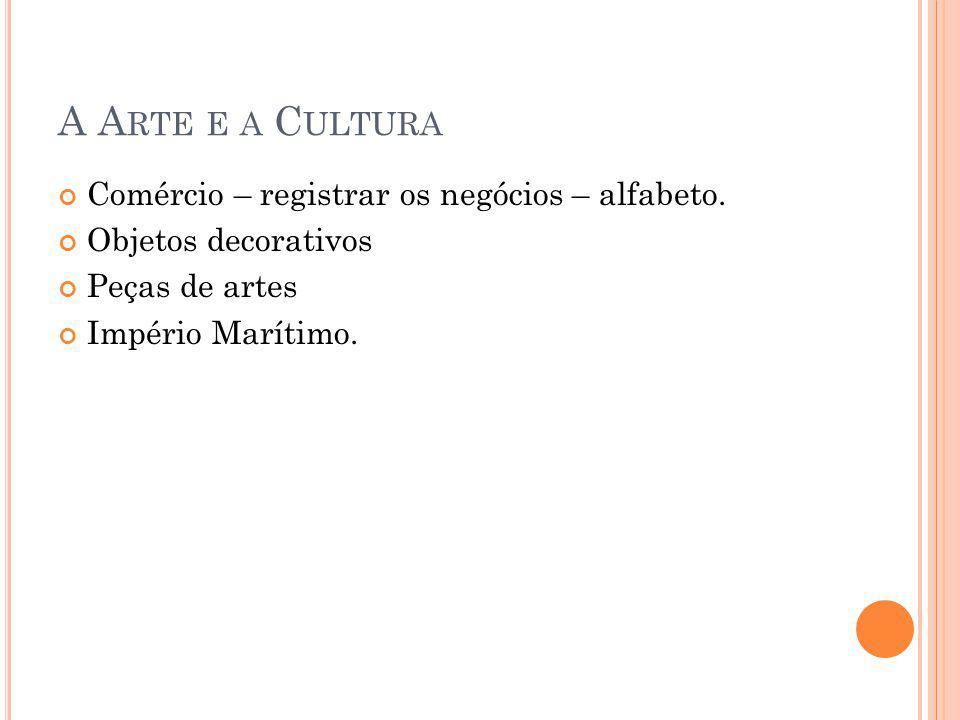 A A RTE E A C ULTURA Comércio – registrar os negócios – alfabeto. Objetos decorativos Peças de artes Império Marítimo.