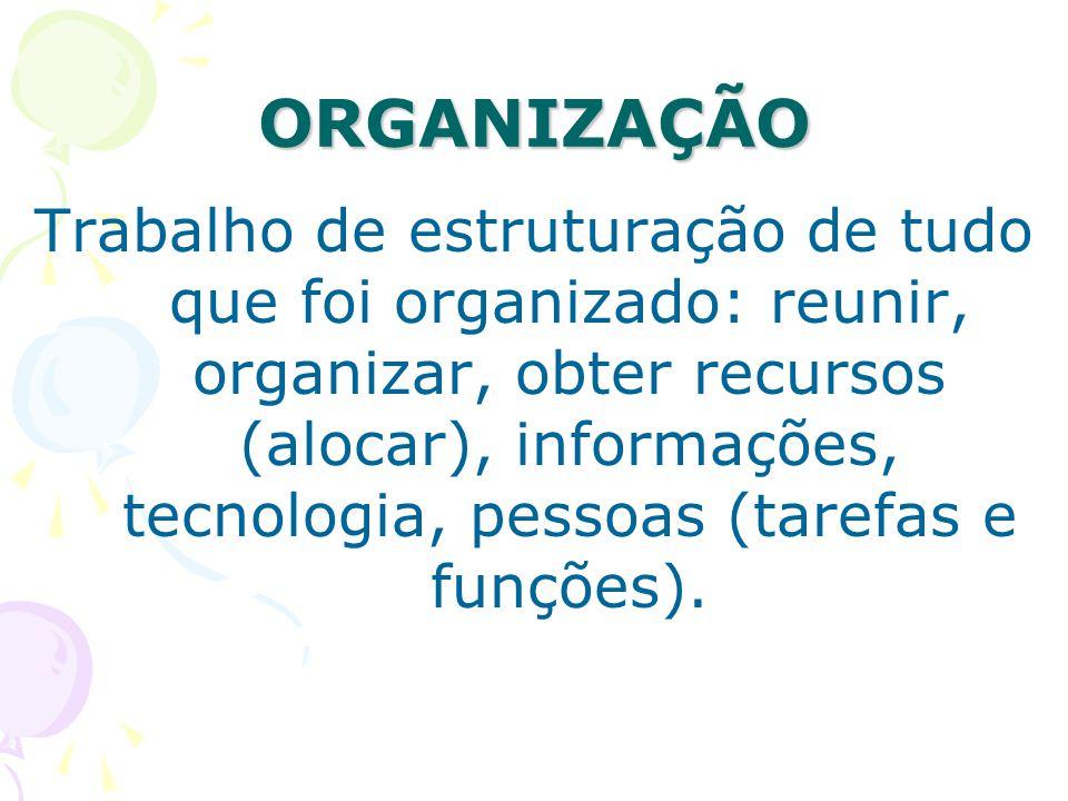 ORGANIZAÇÃO Trabalho de estruturação de tudo que foi organizado: reunir, organizar, obter recursos (alocar), informações, tecnologia, pessoas (tarefas