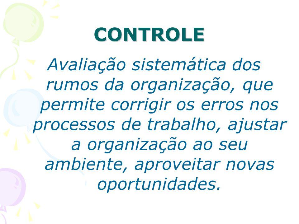 CONTROLE Avaliação sistemática dos rumos da organização, que permite corrigir os erros nos processos de trabalho, ajustar a organização ao seu ambient