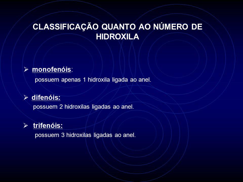 CLASSIFICAÇÃO QUANTO AO NÚMERO DE HIDROXILA monofenóis: possuem apenas 1 hidroxila ligada ao anel.