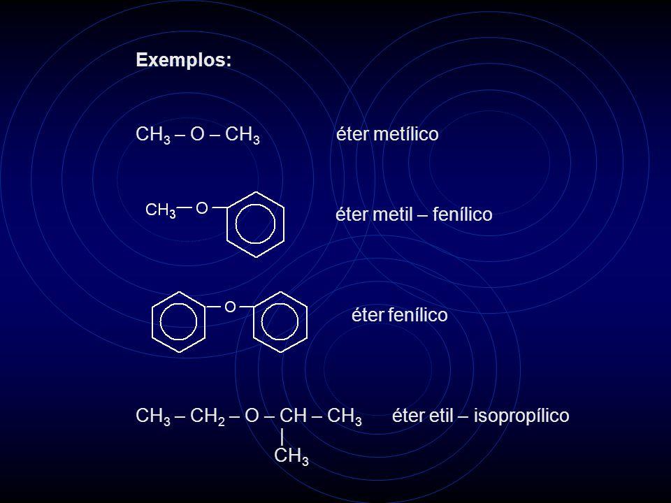 CH 3 – O – CH 3 éter metílico éter metil – fenílico éter fenílico CH 3 – CH 2 – O – CH – CH 3 éter etil – isopropílico   CH 3 Exemplos: