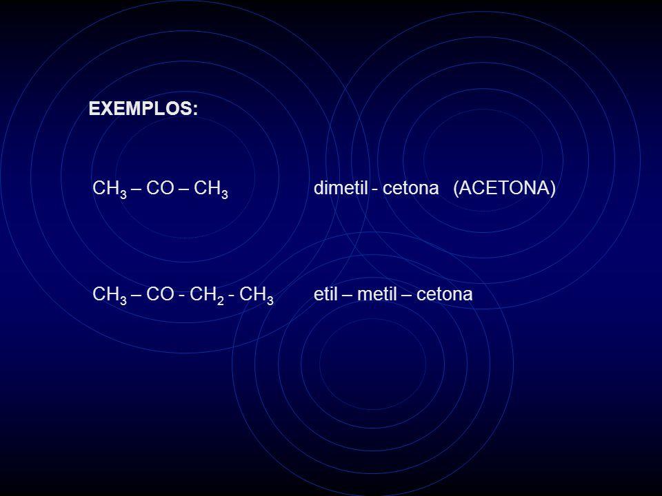 EXEMPLOS: CH 3 – CO – CH 3 dimetil - cetona (ACETONA) CH 3 – CO - CH 2 - CH 3 etil – metil – cetona