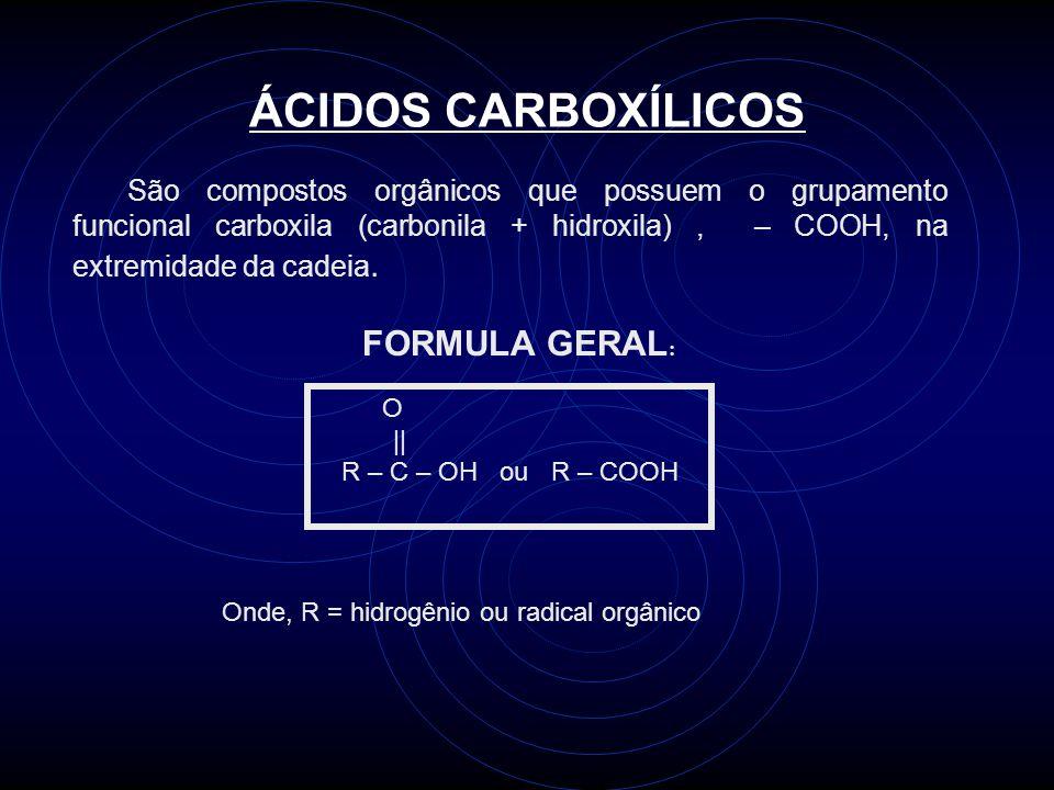 ÁCIDOS CARBOXÍLICOS São compostos orgânicos que possuem o grupamento funcional carboxila (carbonila + hidroxila), – COOH, na extremidade da cadeia.