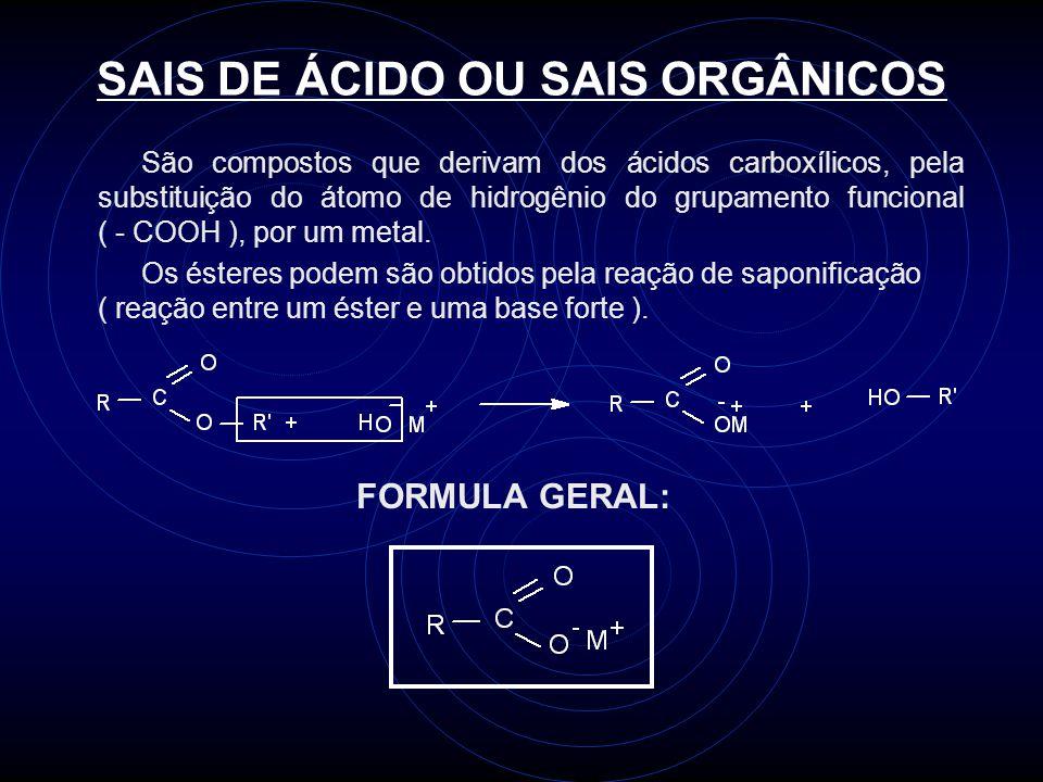 SAIS DE ÁCIDO OU SAIS ORGÂNICOS São compostos que derivam dos ácidos carboxílicos, pela substituição do átomo de hidrogênio do grupamento funcional ( - COOH ), por um metal.
