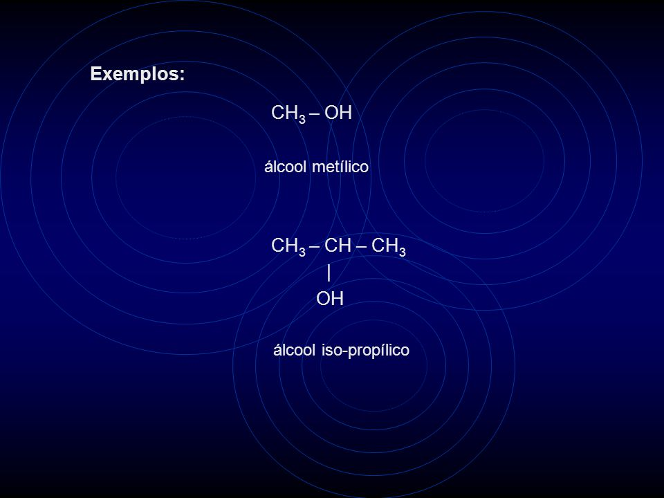 CH 3 – OH álcool metílico CH 3 – CH – CH 3   OH álcool iso-propílico Exemplos: