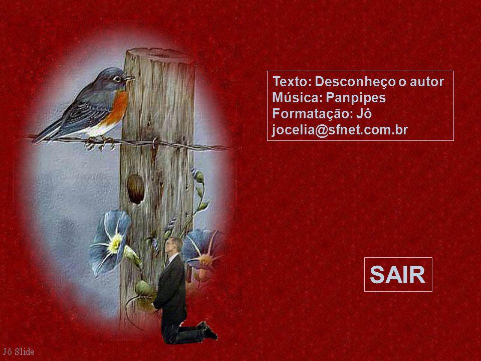 Texto: Desconheço o autor Música: Panpipes Formatação: Jô jocelia@sfnet.com.br SAIR