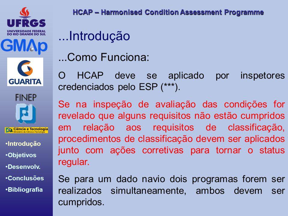 HCAP – Harmonised Condition Assessment Programme Introdução Objetivos Desenvolv. Conclusões Bibliografia...Introdução...Como Funciona: O HCAP deve se