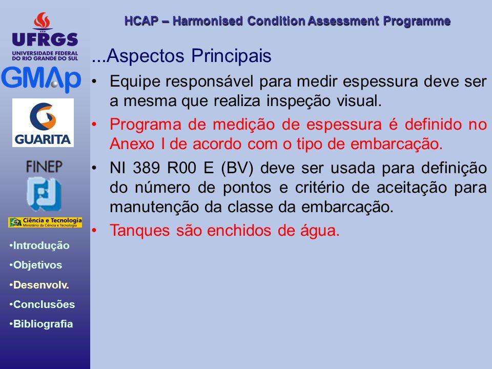 HCAP – Harmonised Condition Assessment Programme Introdução Objetivos Desenvolv. Conclusões Bibliografia...Aspectos Principais Equipe responsável para