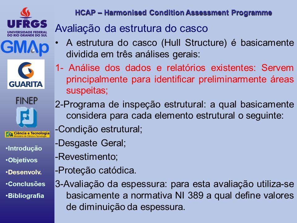 HCAP – Harmonised Condition Assessment Programme Introdução Objetivos Desenvolv. Conclusões Bibliografia Avaliação da estrutura do casco A estrutura d