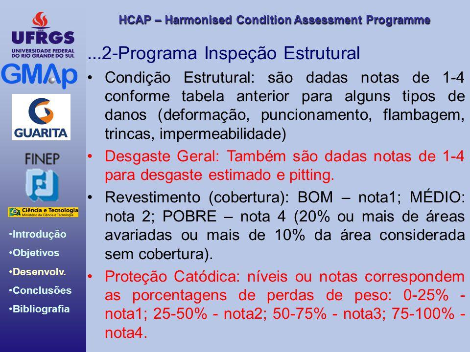 HCAP – Harmonised Condition Assessment Programme Introdução Objetivos Desenvolv. Conclusões Bibliografia...2-Programa Inspeção Estrutural Condição Est