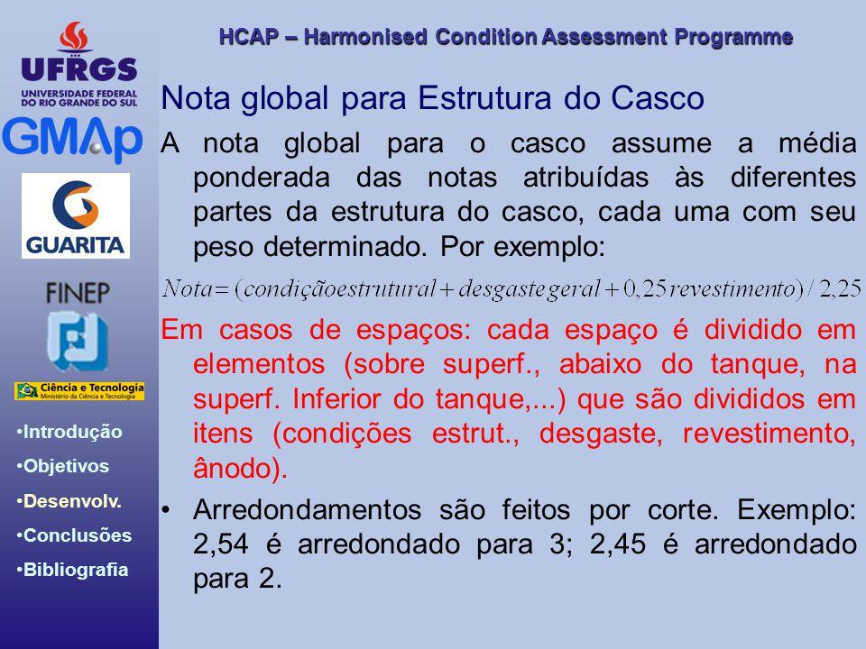 HCAP – Harmonised Condition Assessment Programme Introdução Objetivos Desenvolv. Conclusões Bibliografia Nota global para Estrutura do Casco A nota gl