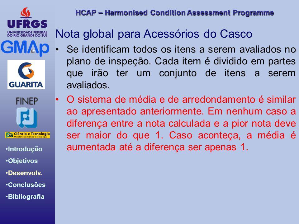 HCAP – Harmonised Condition Assessment Programme Introdução Objetivos Desenvolv. Conclusões Bibliografia Nota global para Acessórios do Casco Se ident