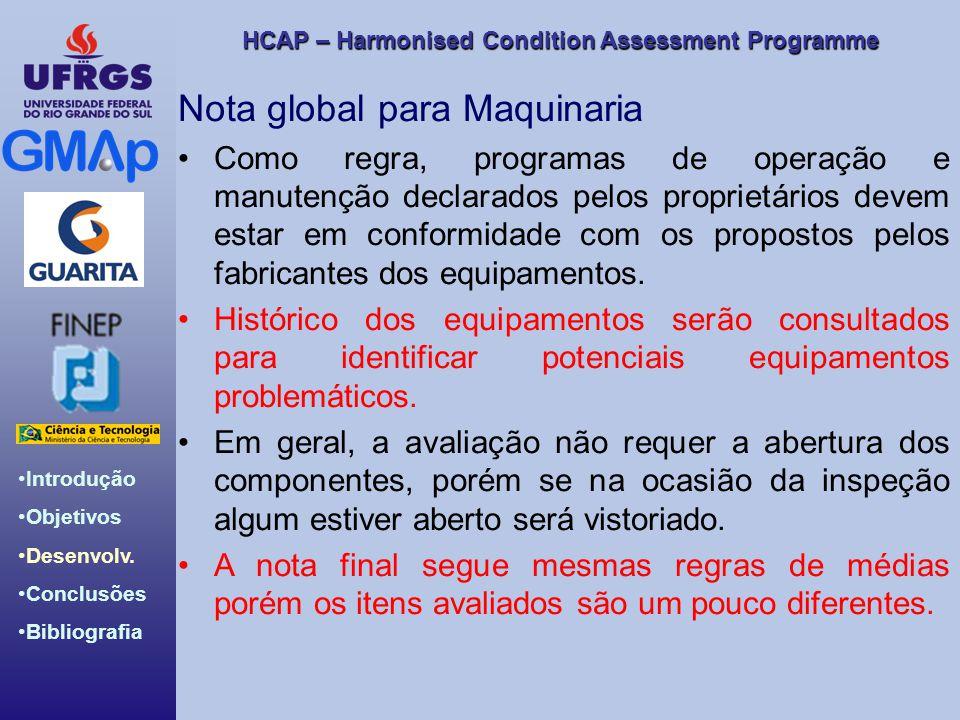 HCAP – Harmonised Condition Assessment Programme Introdução Objetivos Desenvolv. Conclusões Bibliografia Nota global para Maquinaria Como regra, progr