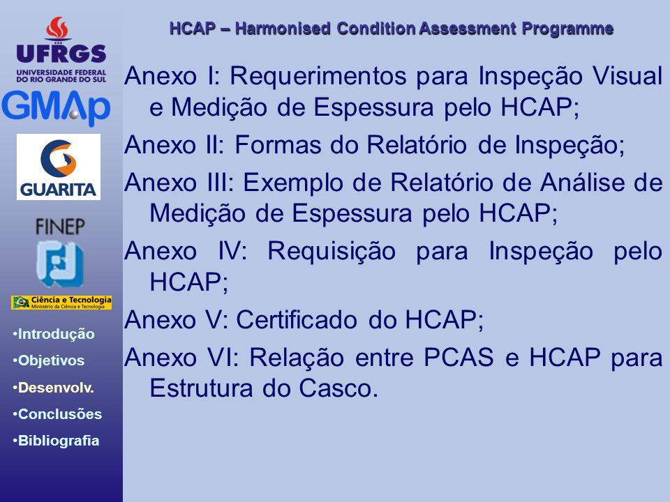 HCAP – Harmonised Condition Assessment Programme Introdução Objetivos Desenvolv. Conclusões Bibliografia Anexo I: Requerimentos para Inspeção Visual e
