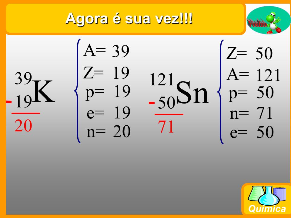 Química Agora é sua vez!!! K 39 19 39 Z= 19 p=19 e=19 n=20 A= Sn 121 50 121 Z= 50 p=50 e=50 n=71 A=