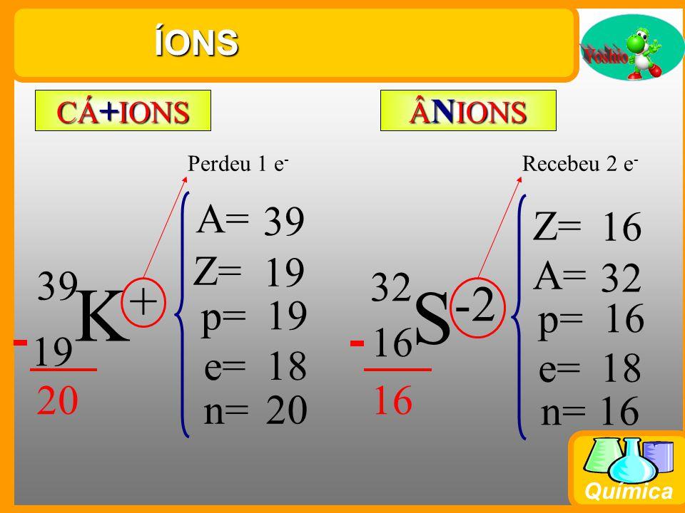 Química Semelhanças Atômicas ISÓTO P OS ISÓTO N OS ISÓB A ROS C 12 6 6 C 14 6 8 A = 12 14 Z = 6 6 p = 6 6 e = 6 6 n = 6 8 P Átomos com mesmo número de Prótons N Átomos com mesmo número de Nêutrons A Átomos com mesmo número de mAssa Ca 40 20 40 18 22 A = 40 40 Z = 20 18 p = 20 18 e = 20 18 n = 20 22 Cl 37 17 20 19 20 A = 37 39 Z = 17 19 p = 17 19 e = 17 19 n = 20 20 K 39 Ar