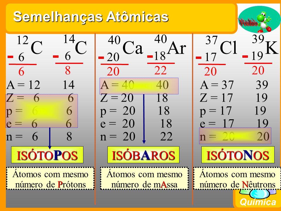 Química Semelhanças Atômicas ISÓTO P OS ISÓTO N OS ISÓB A ROS C 12 6 6 C 14 6 8 A = 12 14 Z = 6 6 p = 6 6 e = 6 6 n = 6 8 P Átomos com mesmo número de