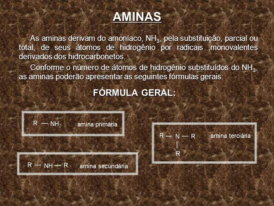AMINAS As aminas derivam do amoníaco, NH 3, pela substituição, parcial ou total, de seus átomos de hidrogênio por radicais,monovalentes derivados dos
