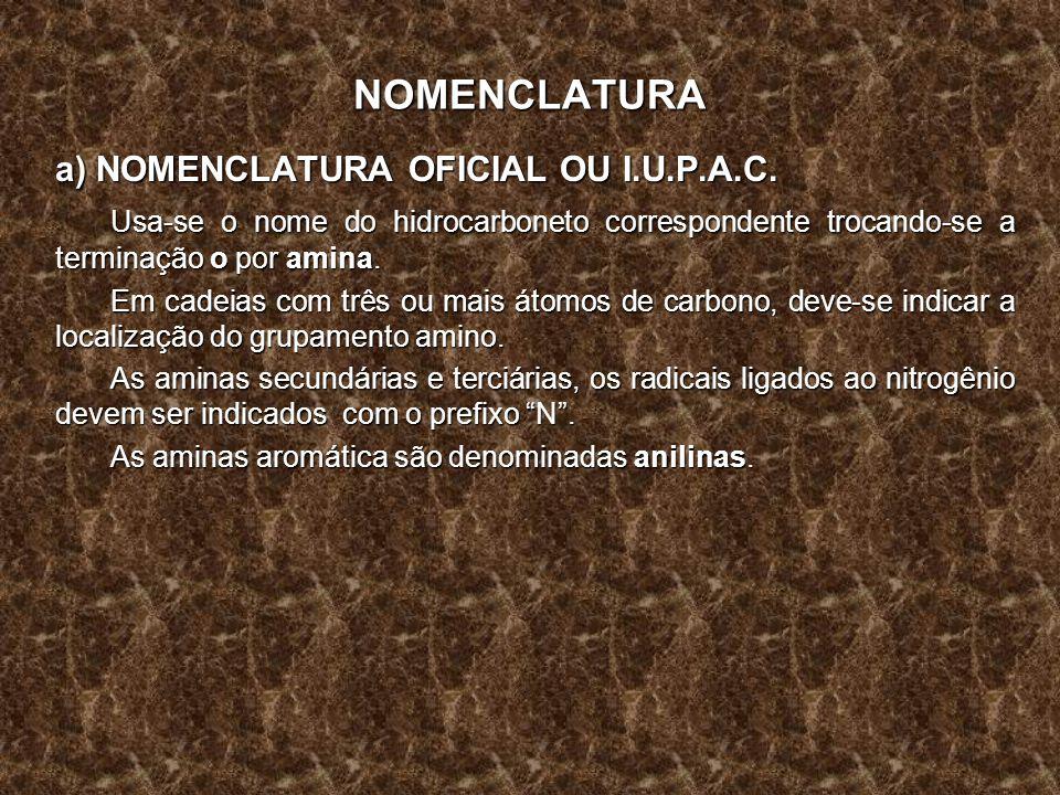 NOMENCLATURA a) NOMENCLATURA OFICIAL OU I.U.P.A.C. Usa-se o nome do hidrocarboneto correspondente trocando-se a terminação o por amina. Em cadeias com