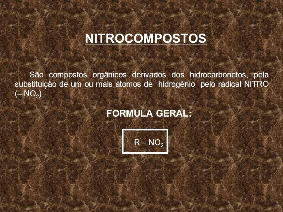 NITROCOMPOSTOS São compostos orgânicos derivados dos hidrocarbonetos, pela substituição de um ou mais átomos de hidrogênio pelo radical NITRO (– NO 2