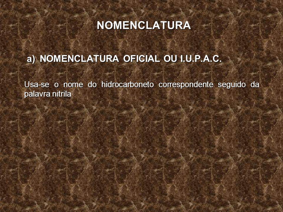NOMENCLATURA a) NOMENCLATURA OFICIAL OU I.U.P.A.C. a) NOMENCLATURA OFICIAL OU I.U.P.A.C. Usa-se o nome do hidrocarboneto correspondente seguido da pal