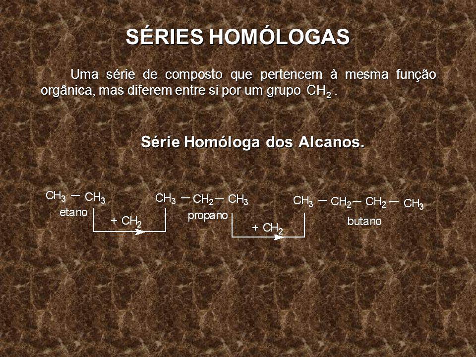 SÉRIES HOMÓLOGAS Uma série de composto que pertencem à mesma função orgânica, mas diferem entre si por um grupo CH 2. Série Homóloga dos Alcanos.